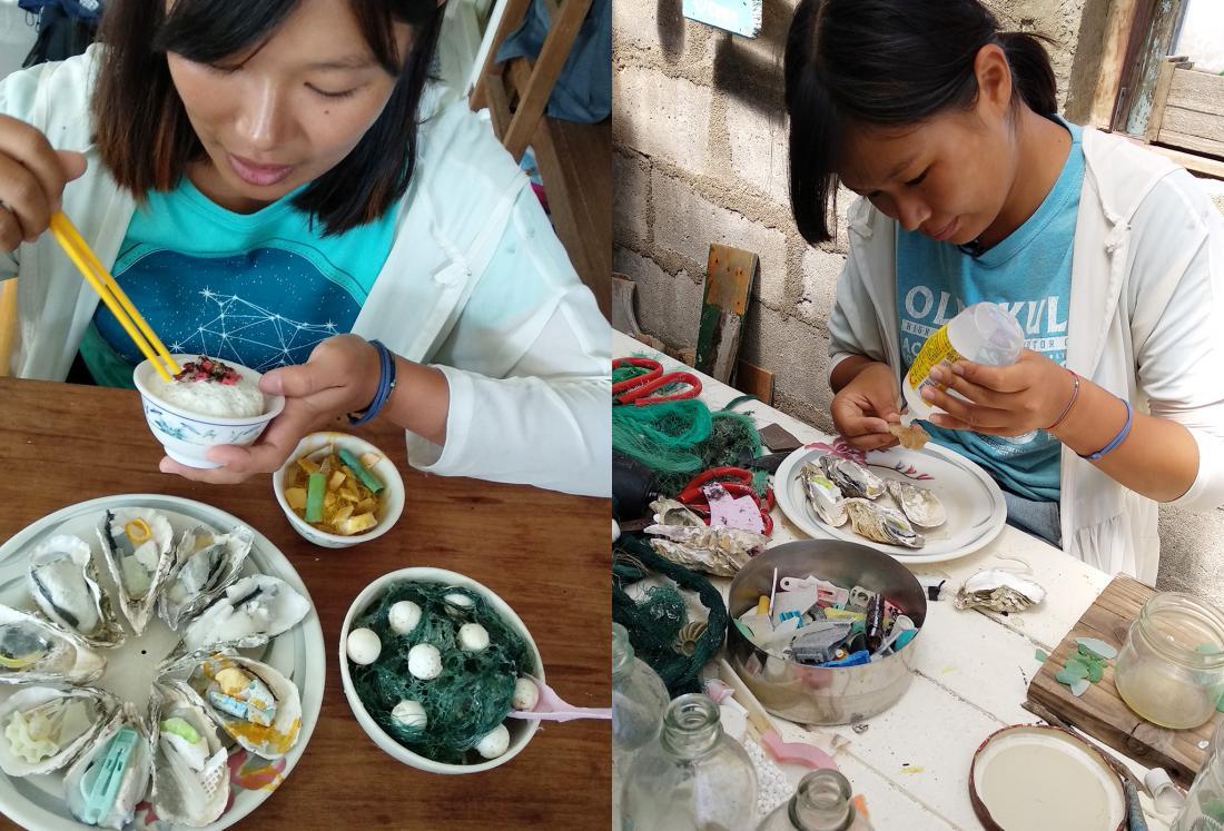 餐桌製作中,海漂陸戰隊小乙子做的米飯、海
