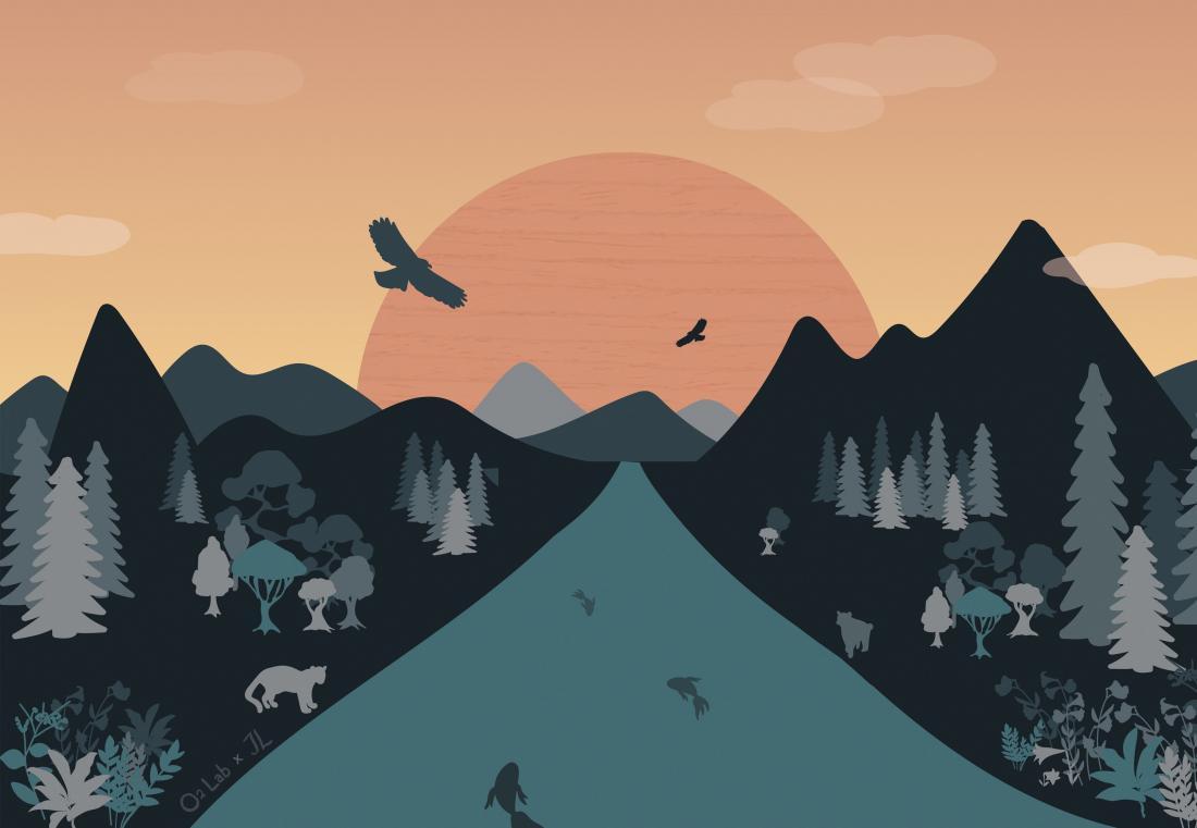兩個世界對映著日落與日出,一邊的太陽圖像中是成堆垃圾,地下垃圾與廢水廢氣,化作無數喪失生命的動物們,而另一邊的世界,太陽刻著木紋,生物種類多樣且欣欣向榮。你呢?你覺得你是在哪個方向看待世界呢?哪個又是你所待的現實世界?