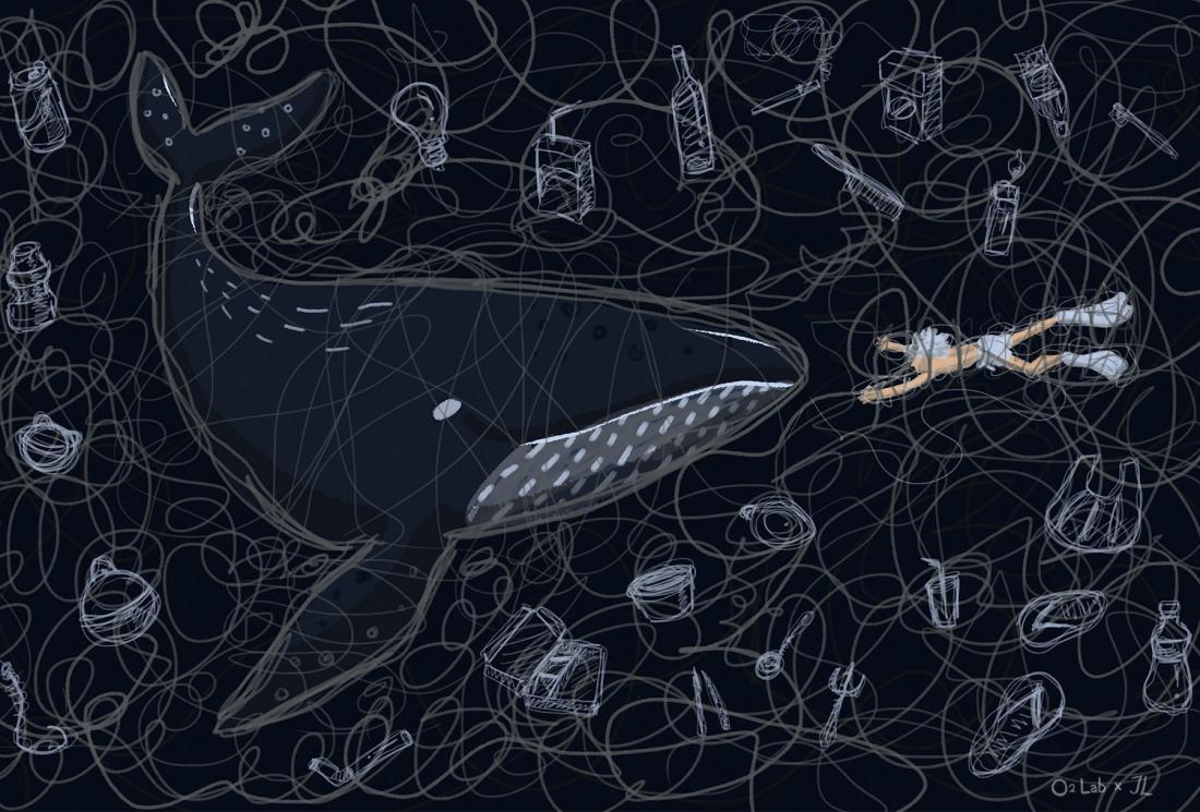 這些線象徵了人類共同造的業相互交錯,圖中也許人類想要救鯨魚,也許他們想靠近彼此,而他們都被困在這因人類而造的共業宇宙中。