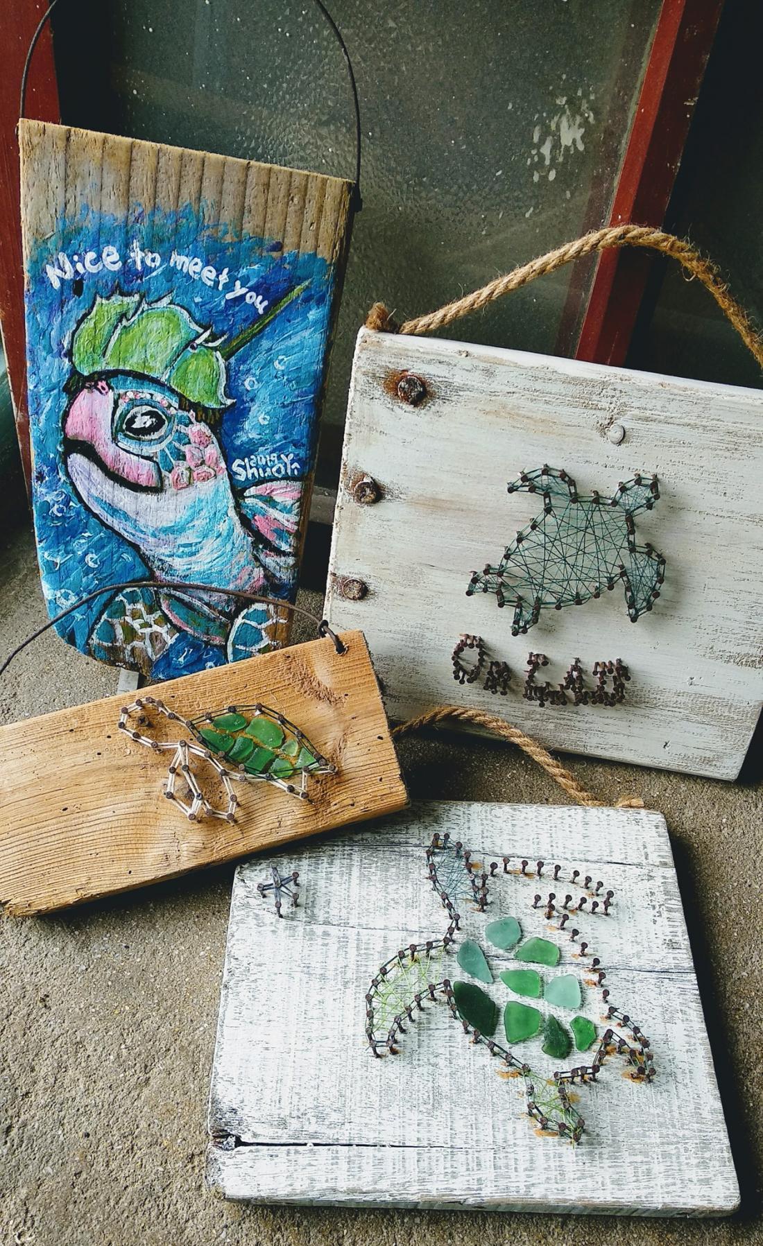各種海龜網繩釘畫