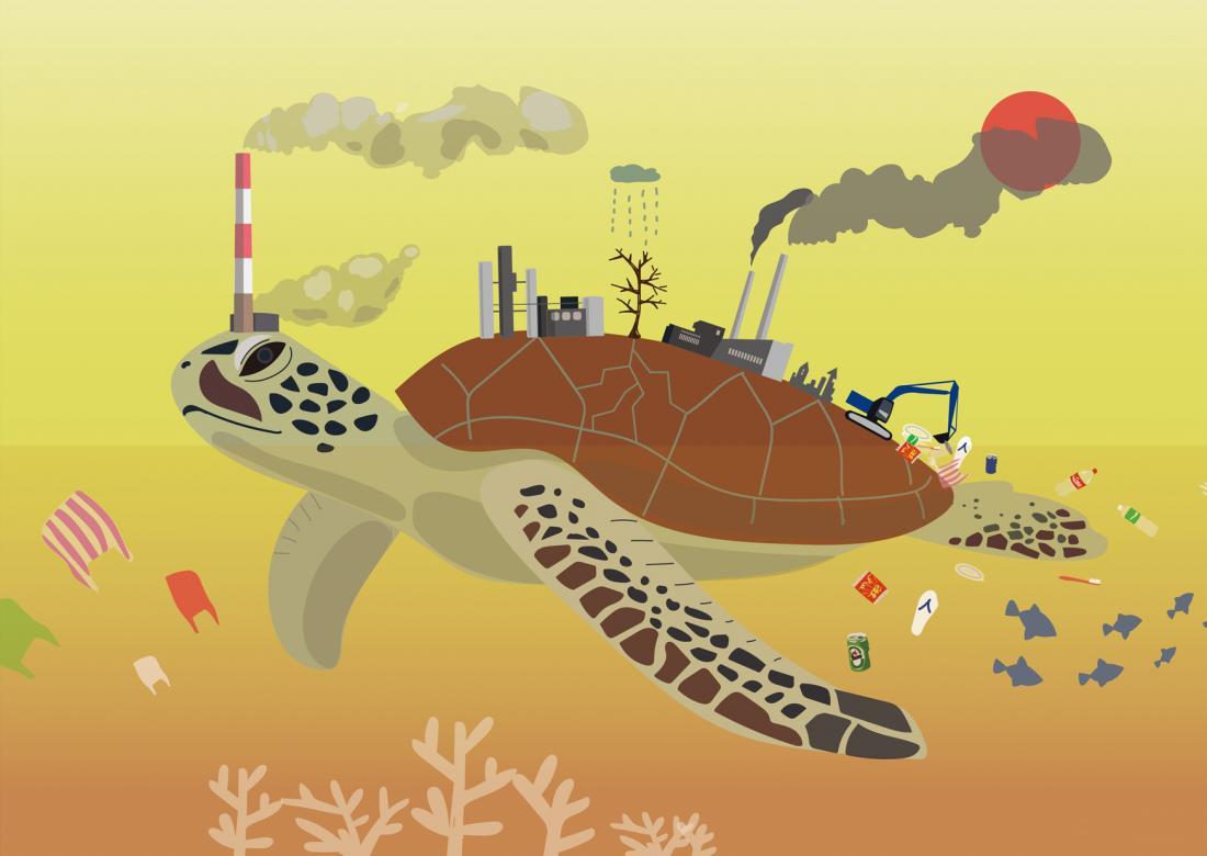 龜島:海龜的頭與背上工廠產生的空氣汙染遮