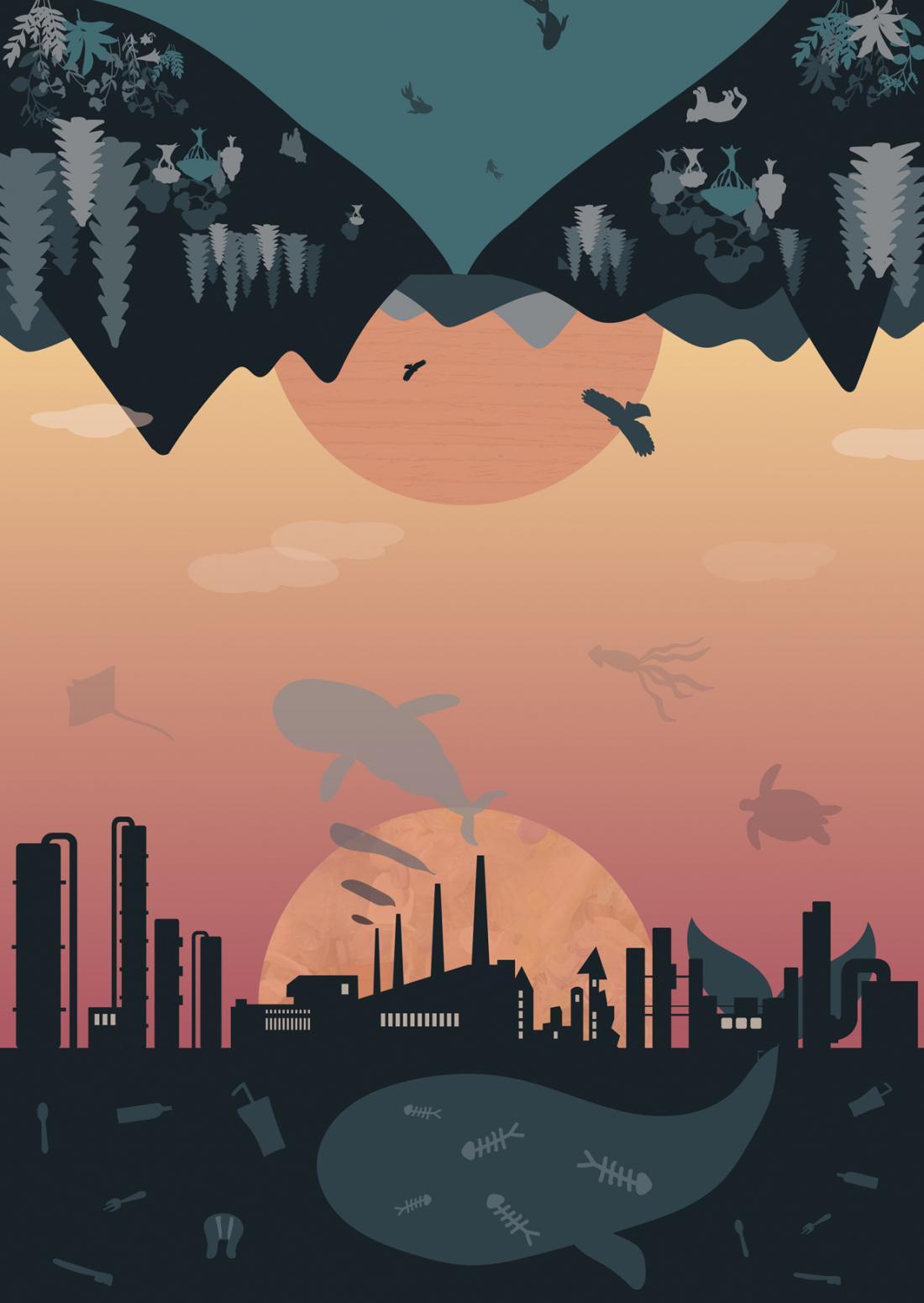 顛倒世界:兩個世界對映著日落與日出,一邊
