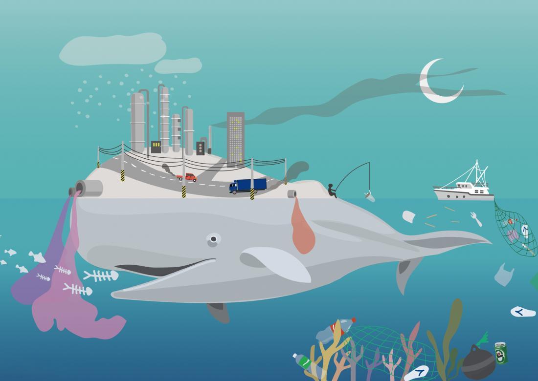 鯨島:白鯨的島上車輛與工廠的廢氣遮蔽月光